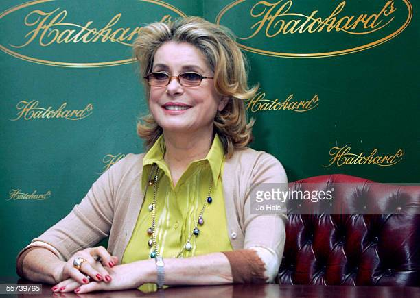 Famously private French movie legend Catherine Deneuve signs copies of her autobiography 'Close Up And Personal' at Hatchards Piccadilly on September...