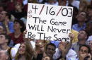 A fan acknowledges Michael Jordan of the Washington Wizards during the final NBA game of his career played against the Philadelphia 76ers at First...