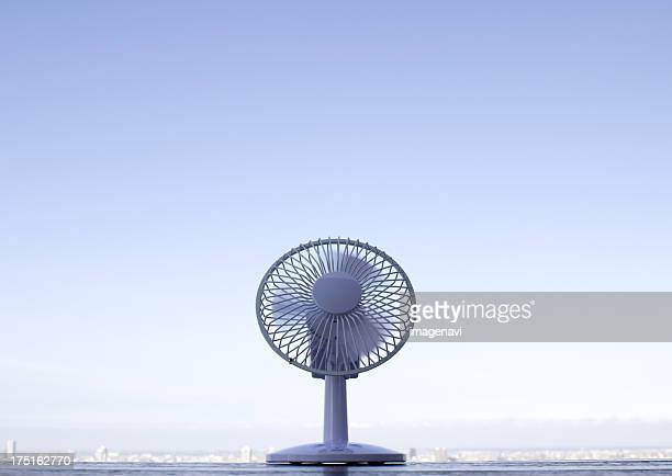 Fan and a cityscape