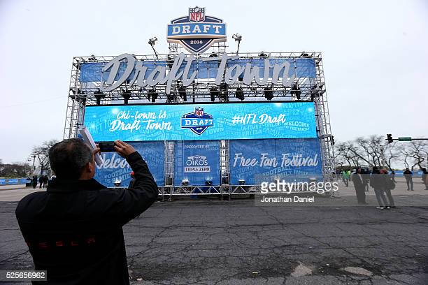 A fan attends the Draft Town prior to the 2016 NFL Draft at Grant Park on April 28 2016 in Chicago Illinois