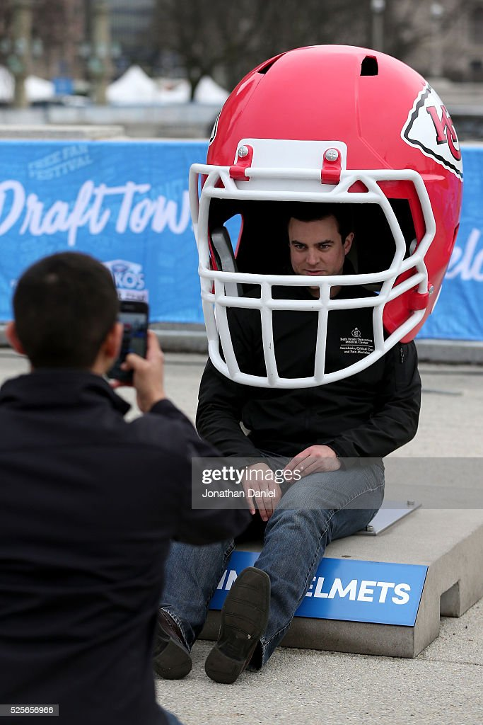 A fan attends the Draft Town prior to the 2016 NFL Draft at Grant Park on April 28, 2016 in Chicago, Illinois.