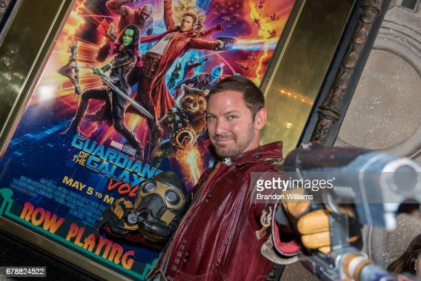 A fan attends the screening of Disney and Marvel Studios' 'Guardians of the Galaxy Vol 1' and 'Guardians of the Galaxy Vol 2' at El Capitan Theatre...