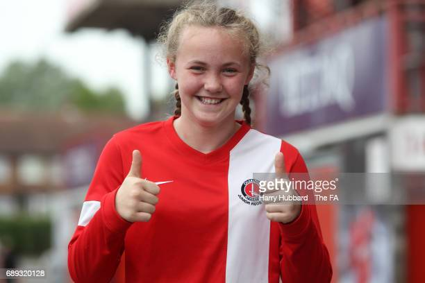 A fan before the FA Women's Premier League Playoff Final between Tottenham Hotspur Ladies and Blackburn Rovers Ladies at The Valley on May 28 2017 in...