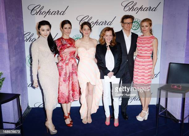 Fan Bingbing Livia Firth CoPresident of Chopard Caroline GruosiScheufel Marion Cotillard Colin Firth and Laura Bailey attend the Chopard Lunch during...