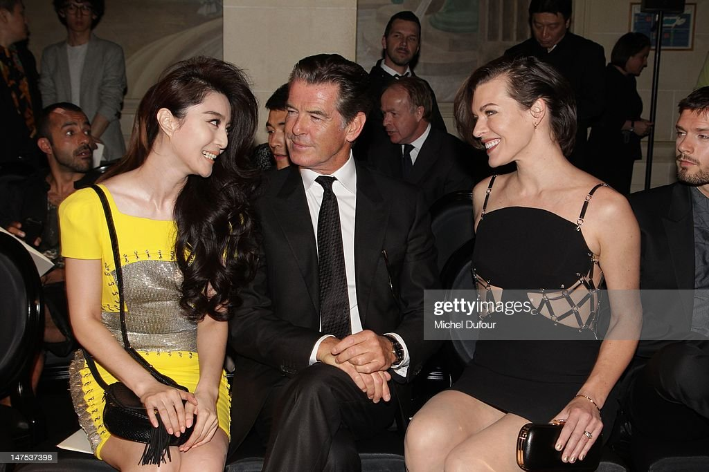 Fan Bingbing, <a gi-track='captionPersonalityLinkClicked' href=/galleries/search?phrase=Pierce+Brosnan&family=editorial&specificpeople=194774 ng-click='$event.stopPropagation()'>Pierce Brosnan</a> and Milla Jovovich attend the Versace Haute-Couture Show as part of Paris Fashion Week Fall / Winter 2012/13 on July 1, 2012 in Paris, France.