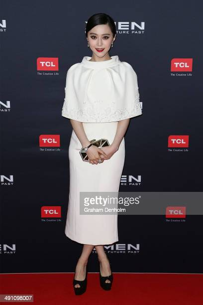 Fan Bingbing poses as she arrives at the Australian premiere of 'XMen Days of Future Past' on May 16 2014 in Melbourne Australia
