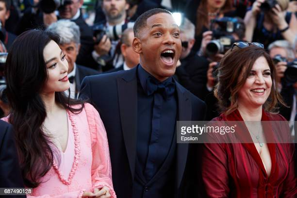 Fan Bingbing Will Smith Agnes Jaoui attend the 70th Anniversary of the 70th annual Cannes Film Festival at Palais des Festivals on May 23 2017 in...