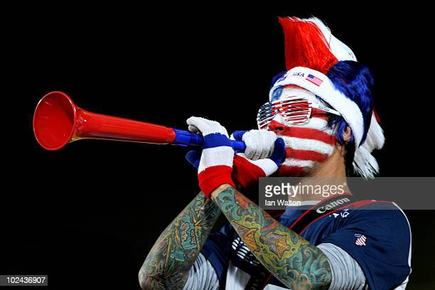 USA fan blows a Vuvuzela prior to the 2010 FIFA World Cup South Africa Round of Sixteen match between USA and Ghana at Royal Bafokeng Stadium on June...