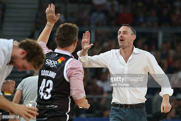 A fan celebrates after Kyle Adnam of Melbourne United hits a shot during the round 12 NBL match between Melbourne and Brisbane at Hisense Arena on...