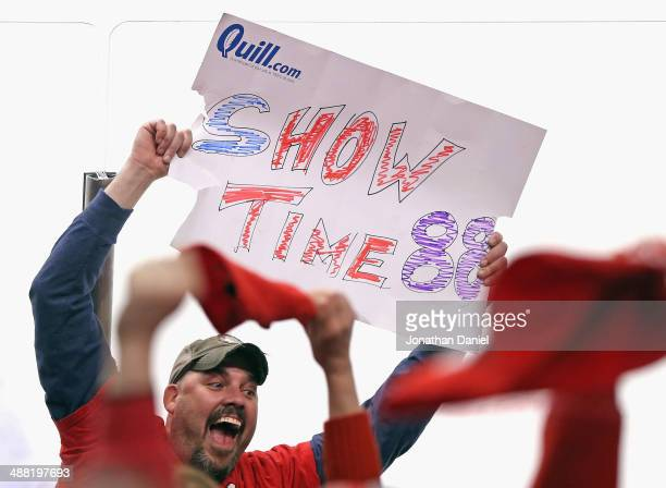 A fan cheers after of the Chicago Blackhawks defeated the Minnesota Wild in Game Two of the Second Round of the 2014 NHL Stanley Cup Playoffs at the...