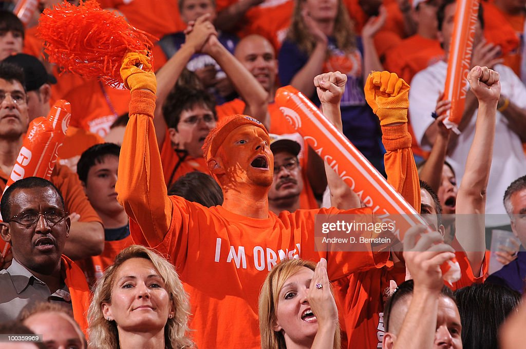 A fan cheers during the game between the Phoenix Suns and the Los Angeles Lakers in Game Three of the Western Conference Finals during the 2010 NBA Playoffs at US Airways Center on May 23, 2010 in Phoenix, Arizona.
