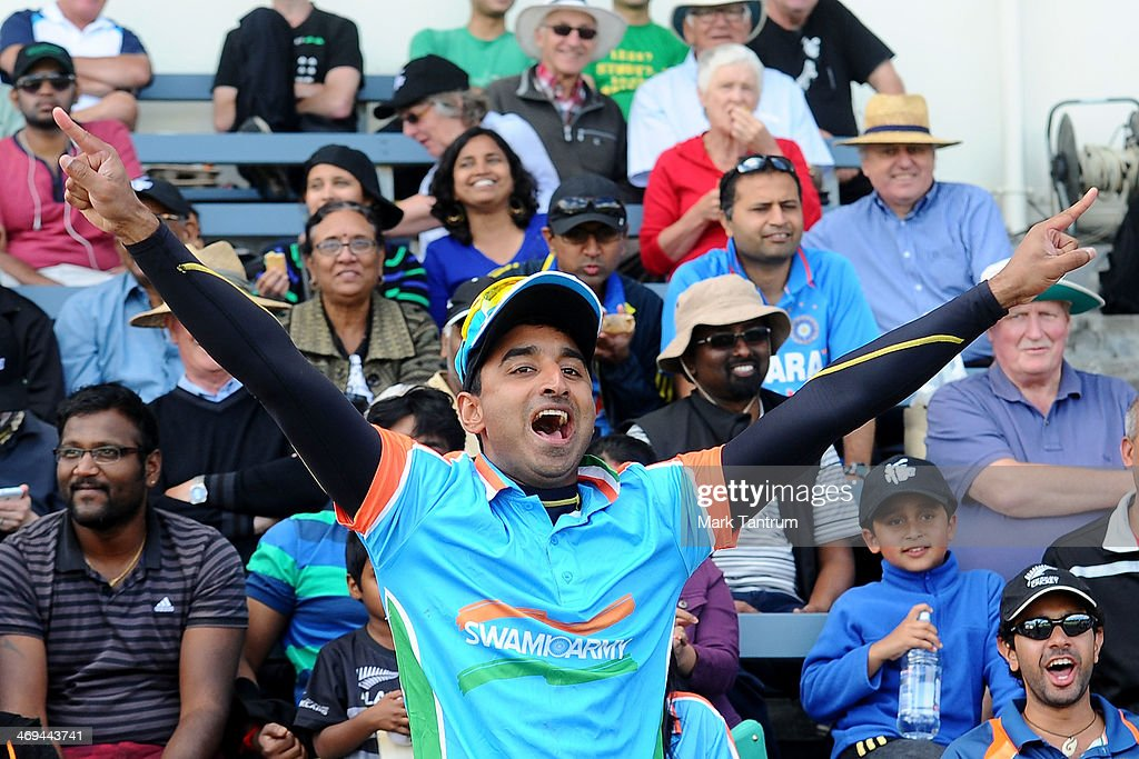 A fan cheers for the Indian Team during the 'One Year To Go' to the ICC Cricket World Cup announcement at The Basin Reserve on February 15, 2014 in Wellington, New Zealand.