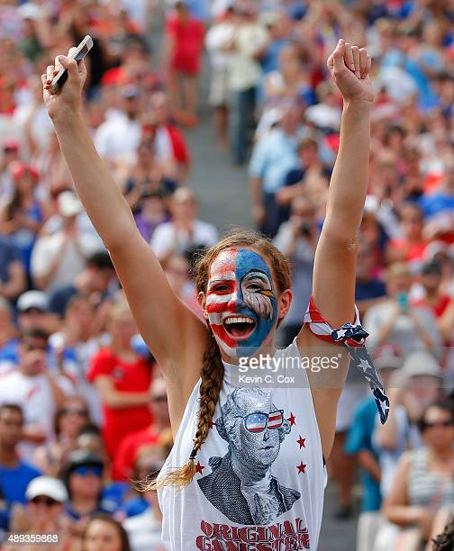 A fan cheers prior to the match between the United States of America and Haiti during the US Women's 2015 World Cup victory tour match at Legion...