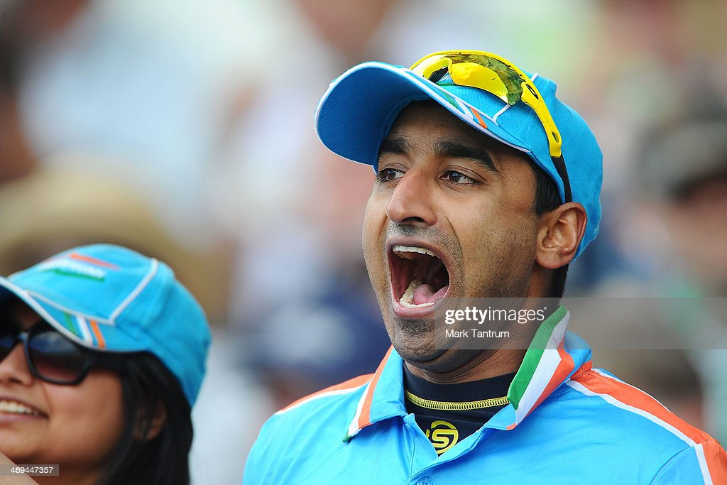 A fan chers on the Indian Team during the 'One Year To Go' to the ICC Cricket World Cup announcement at the Basin Reserve on February 15, 2014 in Wellington, New Zealand.