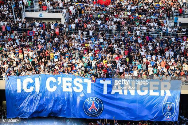 Fan club of PSG in Tanger during the Champions Trophy match between Monaco and Paris Saint Germain at Stade IbnBatouta on July 29 2017 in Tanger...