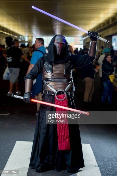 A fan cosplays as Revan from Starwars during the 2017 New York Comic Con Day 4 on October 8 2017 in New York City