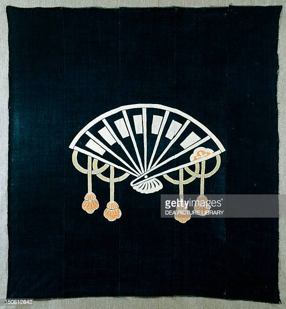 Fan detail of motif foor covering fabric 19th20th century late 19th century cotton and indigo dyes and pigments 176x166 cm Japanese civilization the...
