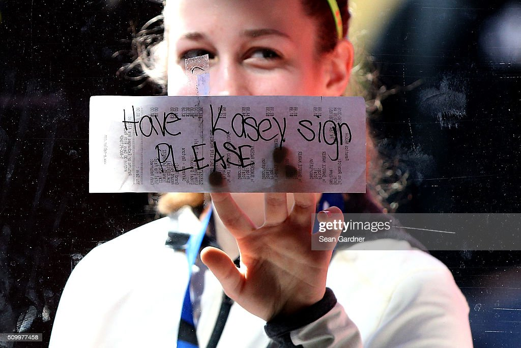 A fan displays a message for Kasey Kahne (not pictured), driver of the #5 Farmers Insurance Chevrolet, during practice for the NASCAR Sprint Cup Series Daytona 500 at Daytona International Speedway on February 13, 2016 in Daytona Beach, Florida.