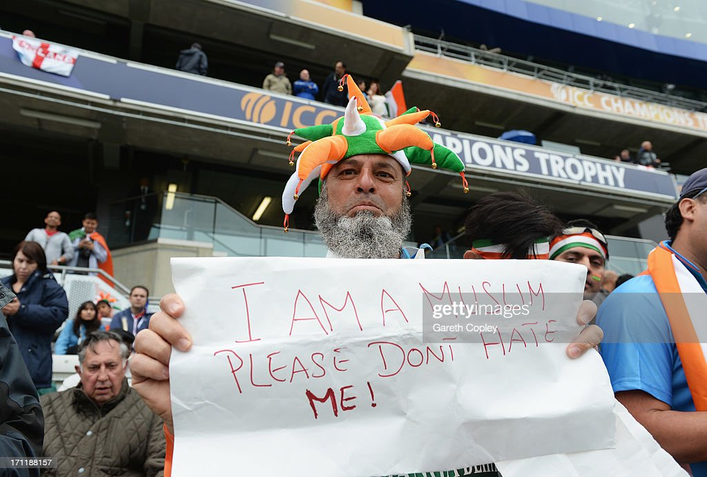 A fan displays a message prior to the ICC Champions Trophy Final between England and India at Edgbaston on June 23, 2013 in Birmingham, England.