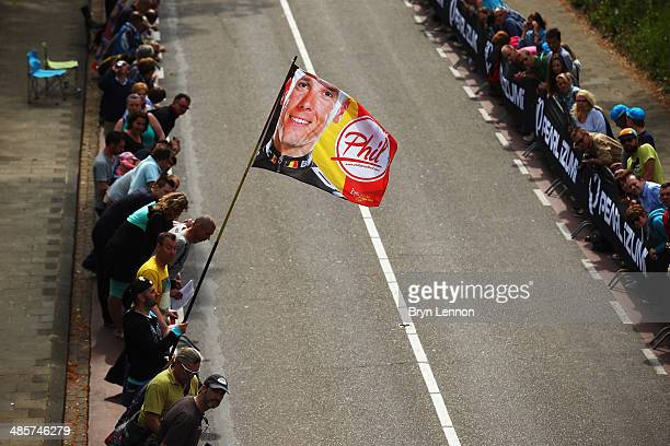 A fan displays a Phillipe Gilbert fan flag on the Cauberg during the 49th edition of the Amstel Gold Race on April 20 2014 in Maastricht Netherlands...