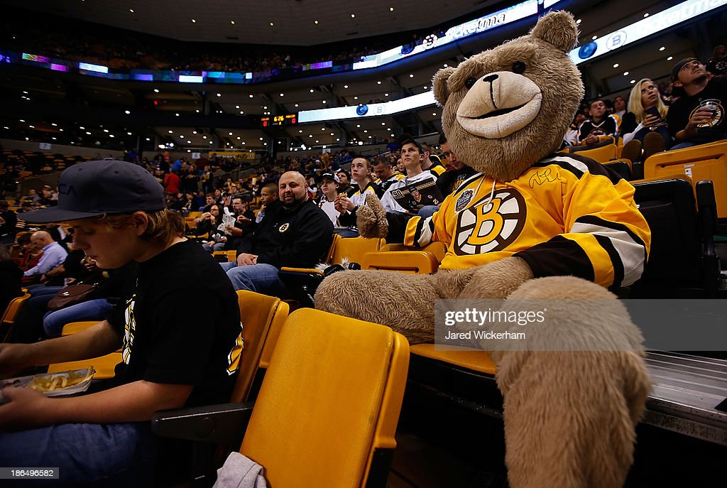 A fan dressed as a bear waits for the first period to begin between the Boston Bruins and the Anaheim Ducks at TD Garden on October 31, 2013 in Boston, Massachusetts.