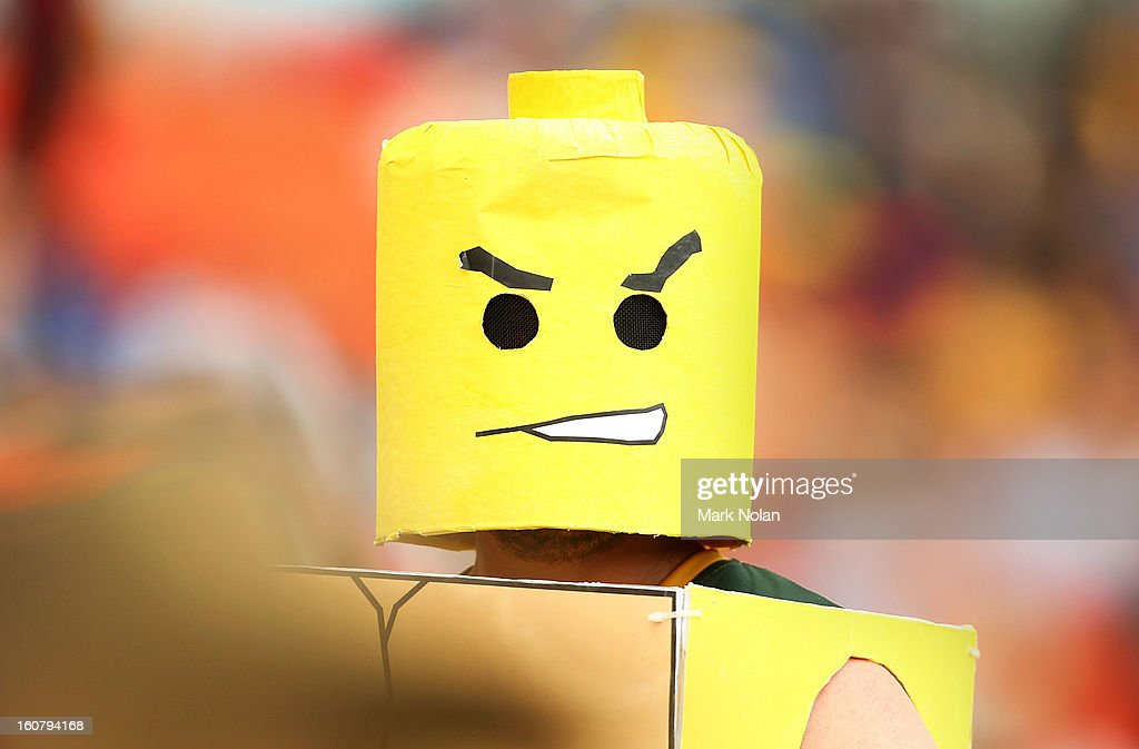 A fan dressed as a lego figurine watches on during the Commonwealth Bank One Day International Series between Australia and the West Indies at Manuka Oval on February 6, 2013 in Canberra, Australia.