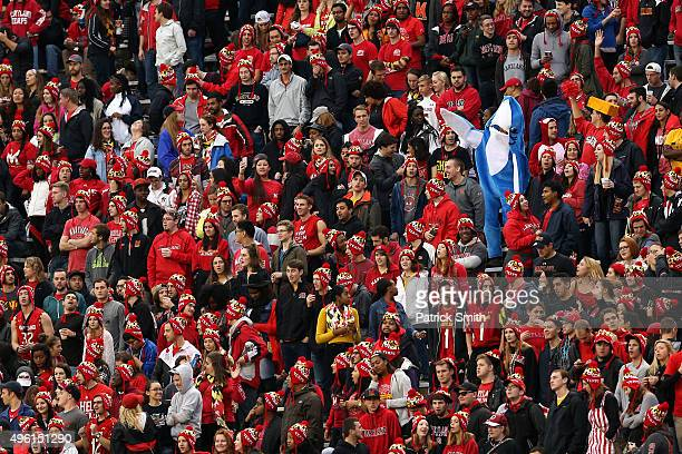 A fan dressed as a shark cheers as the Maryland Terrapins play the Wisconsin Badgers during the first half at Byrd Stadium on November 7 2015 in...
