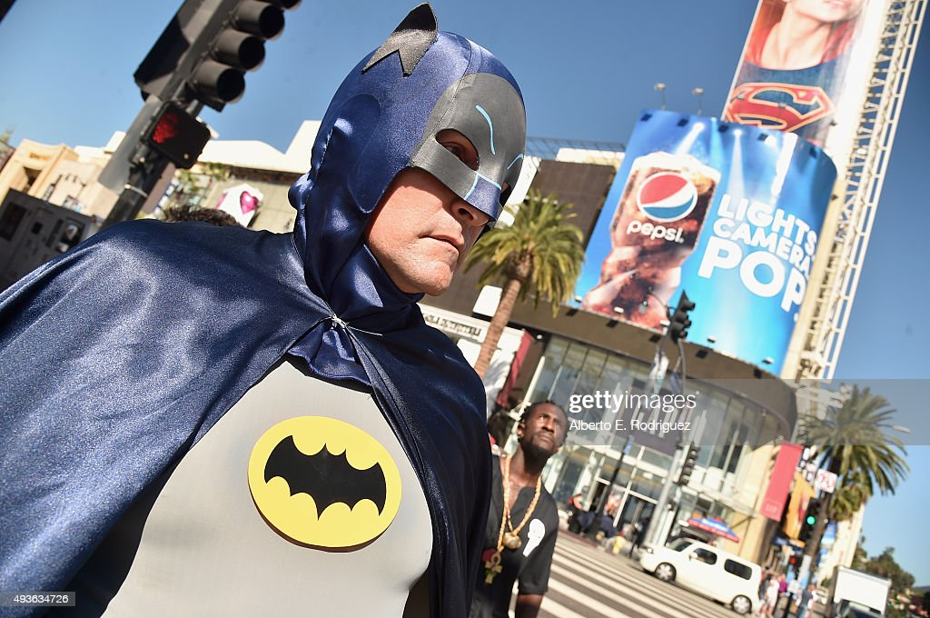 A fan dressed as Batman attends a ceremony honoring Batman creator Bob Kane with the 2562nd star on The Hollywood Walk of Fame on October 21 2015 in...