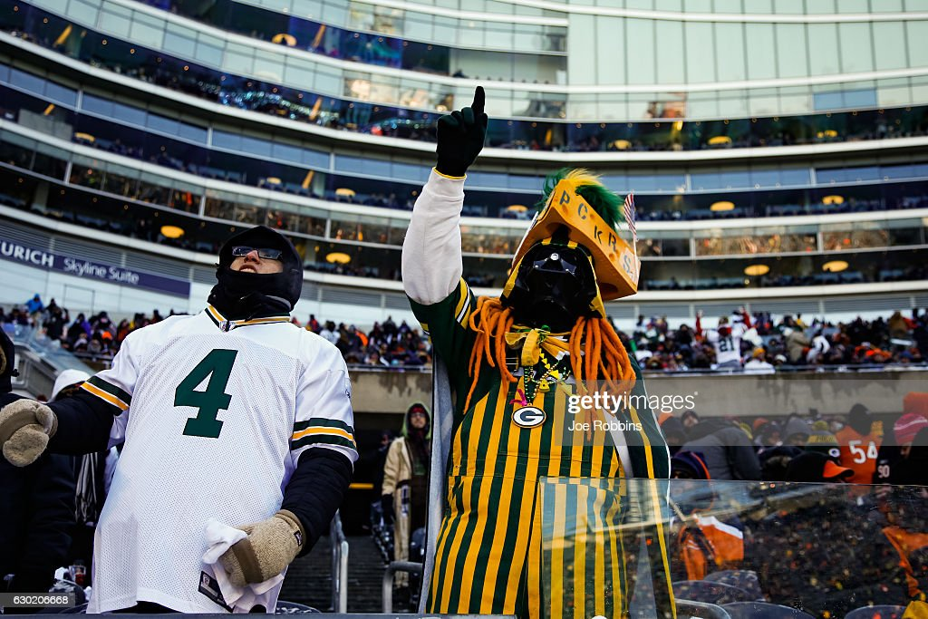 A fan dressed as Darth Vader braves the cold weather during the game between the Chicago Bears and the Green Bay Packers at Soldier Field on December 18, 2016 in Chicago, Illinois.