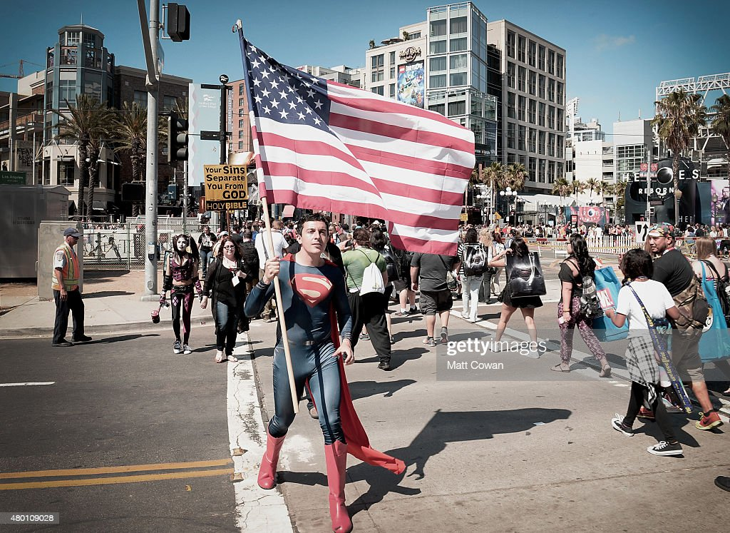 Fan dressed as Superman attends ComicCon International San Diego 2015 on July 10 2015 in San Diego California