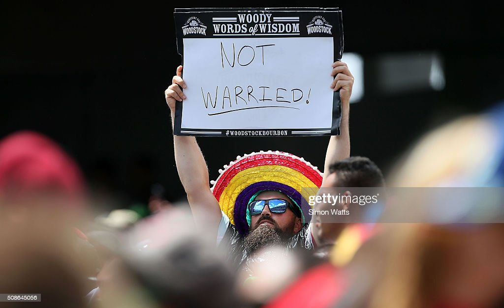 A fan during the 2016 Auckland Nines at Eden Park on February 6, 2016 in Auckland, New Zealand.