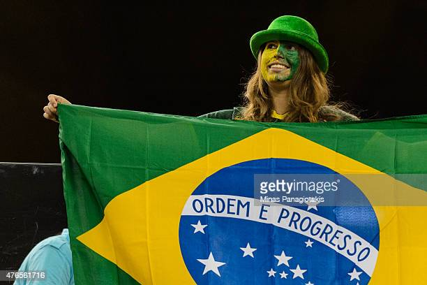 A fan enjoys the atmosphere during the 2015 FIFA Women's World Cup Group E match between Korea Republic and Brazil at Olympic Stadium on June 9 2015...