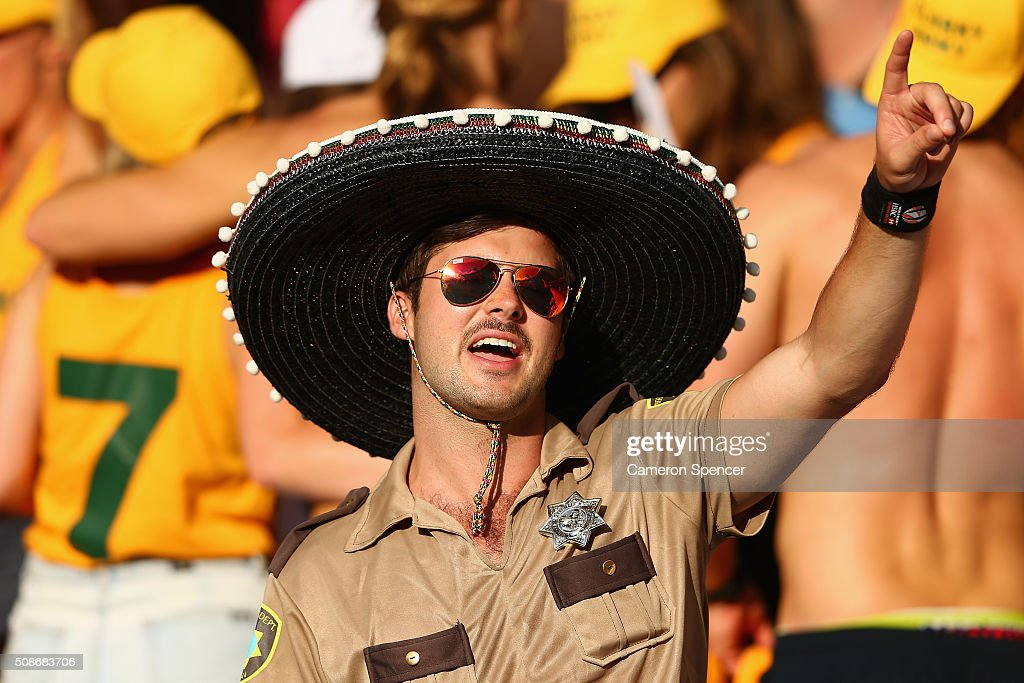 A fan enjoys the atmosphere during the 2016 Sydney Sevens at Allianz Stadium on February 6, 2016 in Sydney, Australia.