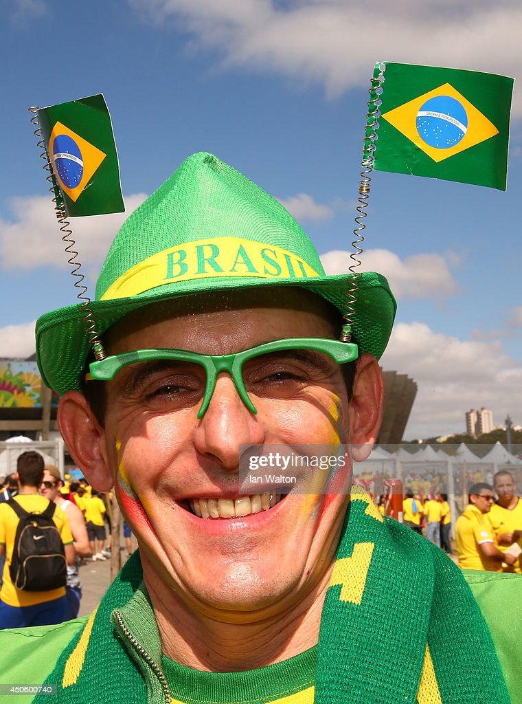 A fan enjoys the atmosphere prior to the 2014 FIFA World Cup Brazil Group C match between Colombia and Greece at Estadio Mineirao on June 14, 2014 in Belo Horizonte, Brazil.