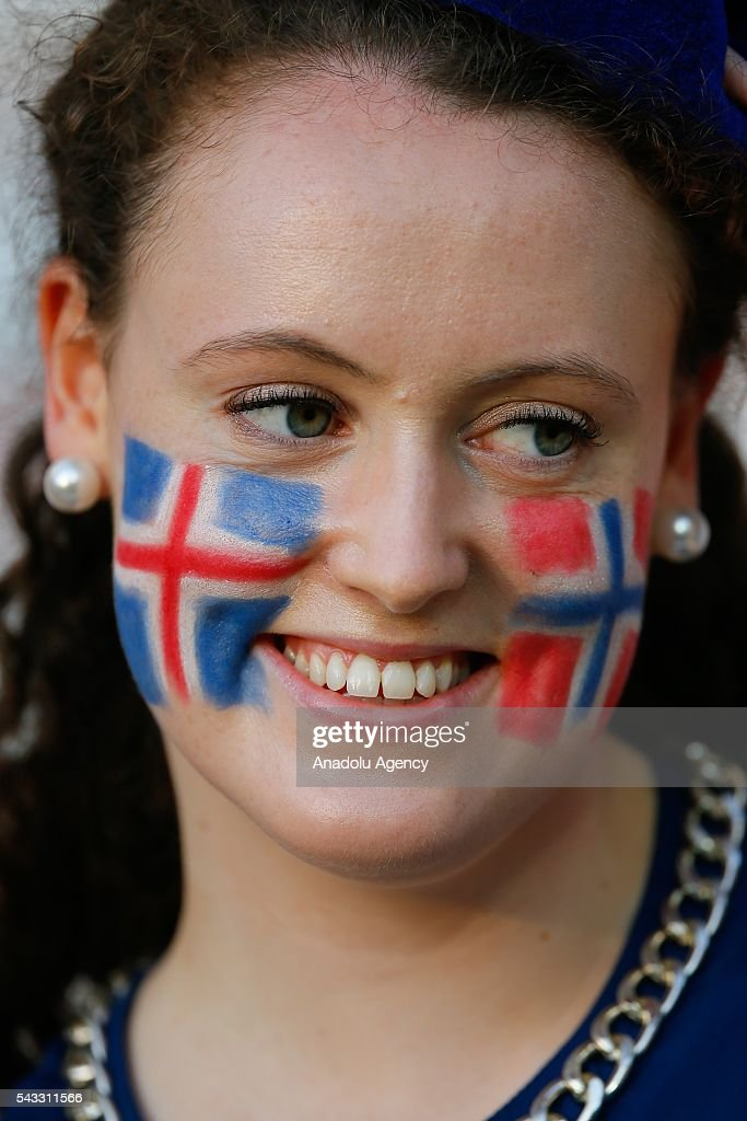 A fan enjoys the atmosphere prior to the UEFA Euro 2016 Round of 16 football match between Iceland and England at Stade de Nice in Nice, France on June 27, 2016.