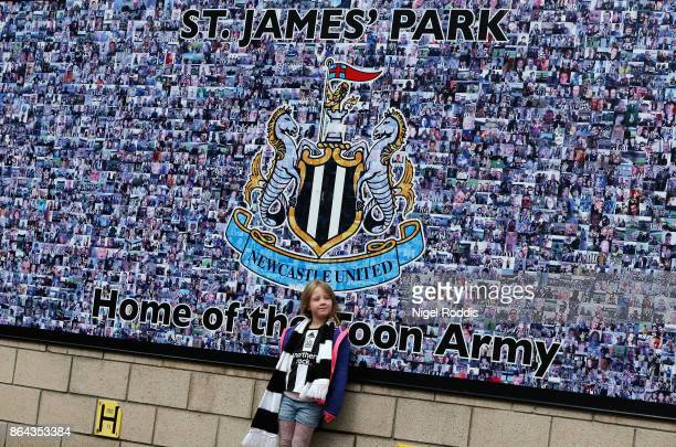 Fan enjoys the prematch atmosphere prior to the Premier League match between Newcastle United and Crystal Palace at St James Park on October 21 2017...