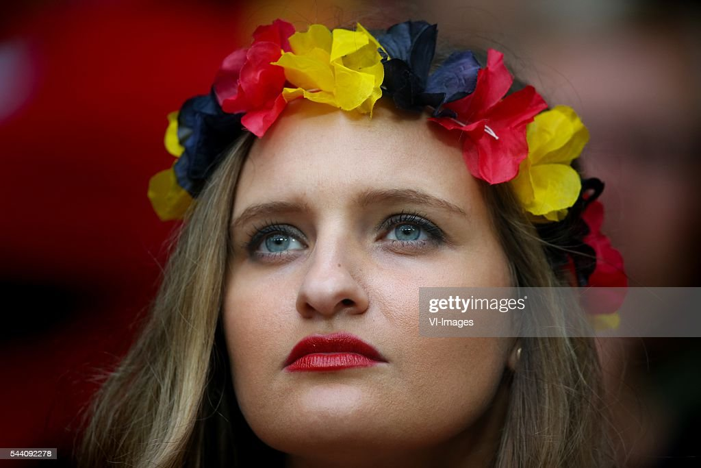 fan, girl, lipstick, belgium, supporter during the UEFA EURO 2016 quarter final match between Wales and Belgium on July 2, 2016 at the Stade Pierre Mauroy in Lille, France.
