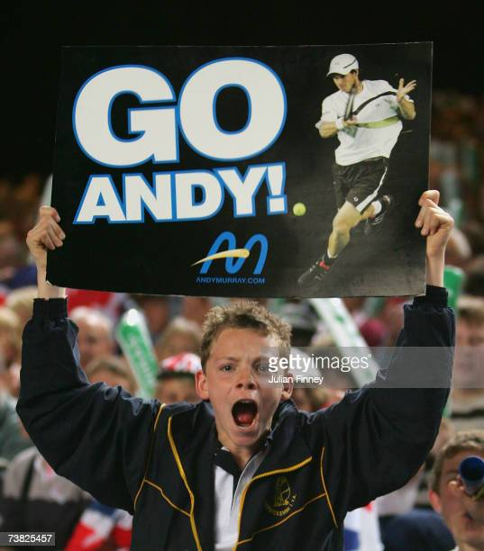 A fan gives his support for Andy Murray of Great Britain in his match against Raemon Sluiter of Netherlands during the Davis Cup Europe/Africa Zone...