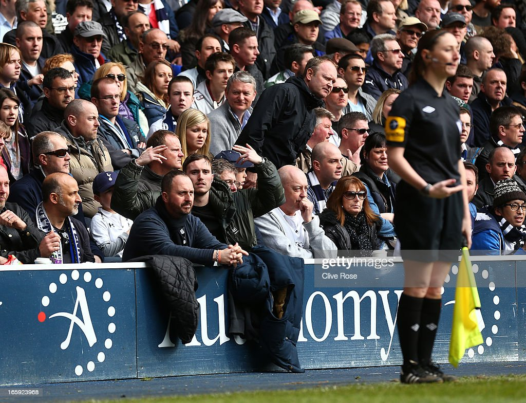 A fan guestures at Assitant Referee Sian Massey during the Barclays Premier League match between Tottenham Hotspur and Everton at White Hart Lane on April 7, 2013 in London, England.