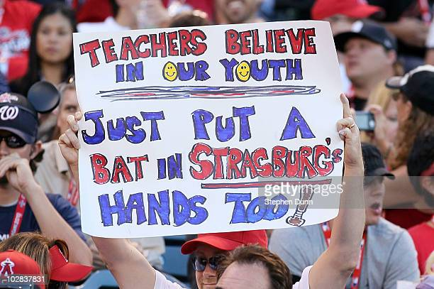 A fan hold a sign during the 2010 State Farm Home Run Derby during AllStar Weekend at Angel Stadium of Anaheim on July 12 2010 in Anaheim California