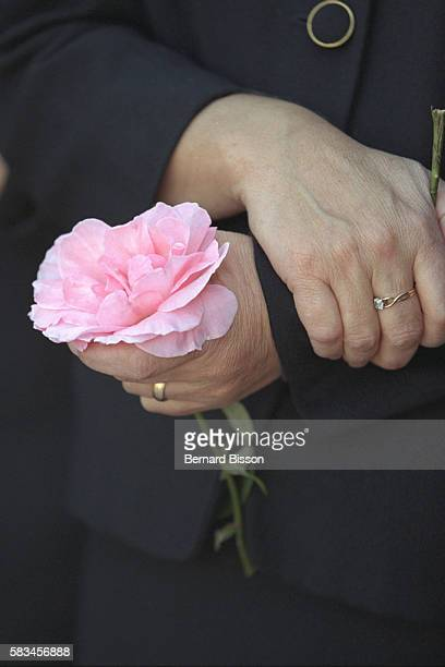 A fan holding a rose