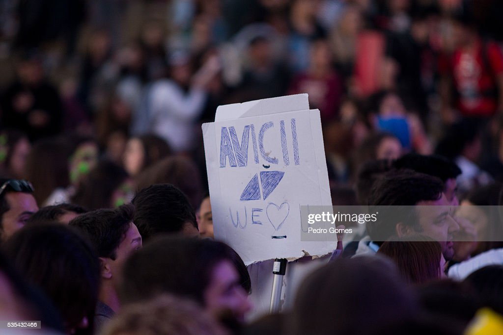 Fan holding a sign for Avicii at Rock in Rio on May 29, 2016 in Lisbon, Portugal.