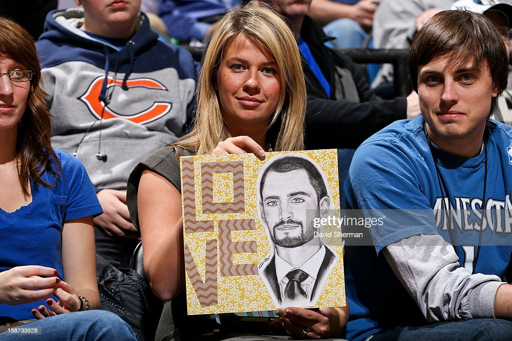A fan holds a drawing of Kevin Love #42 of the Minnesota Timberwolves during a game against the Houston Rockets on December 26, 2012 at Target Center in Minneapolis, Minnesota.
