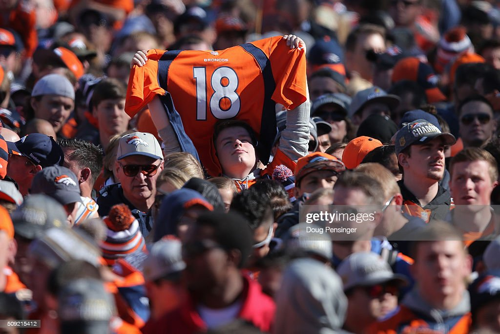 A fan holds a Peyton Manning jersey as fans gather in Civic Center Park in front of the Colorado State Capitol to celebrate the Super Bowl 50 Champion Denver Broncos at a rally on the steps of the Denver City and County Building on February 8, 2016 in Denver, Colorado. The Broncos defeated the Carolina Pathers 24-10 in Super Bowl 50.