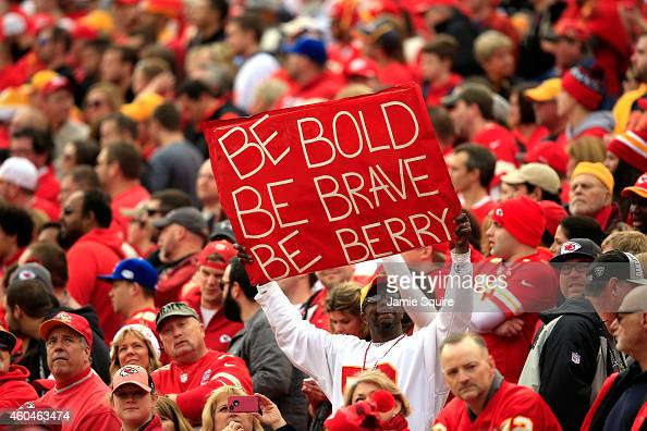 A fan holds a sign in support of Eric Berry during the Kansas City Chiefs vs Oakland Raiders game at Arrowhead Stadium on December 14 2014 in Kansas...