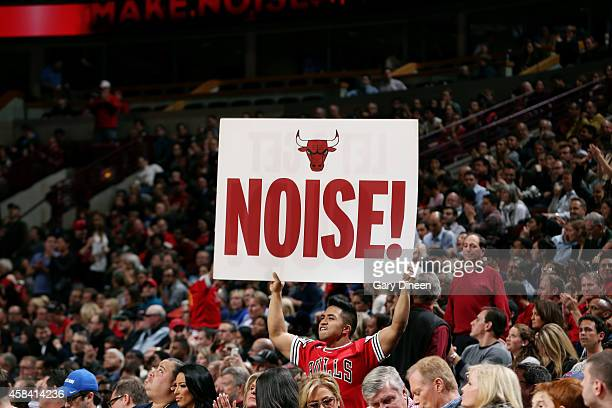 A fan holds a sign in support of the Chicago Bulls during a game against the Orlando Magic November 4 2014 at the United Center in Chicago Illinois...