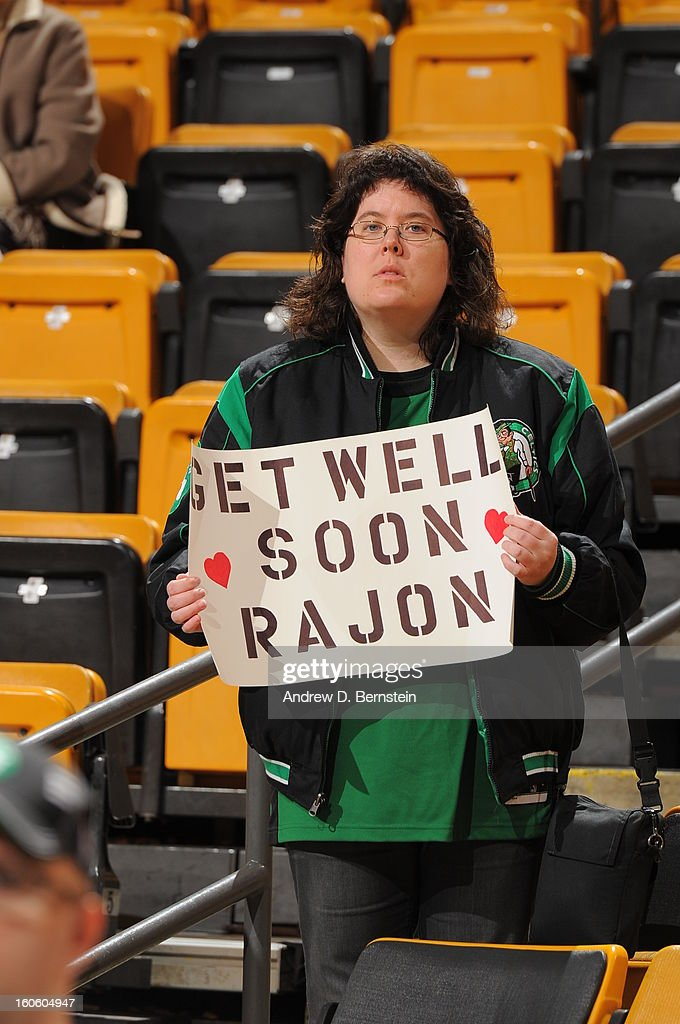 A fan holds a sign to support Rajon Rondo #9 of the Boston Celtics during the game between the Boston Celtics and the Los Angeles Clippers on February 3, 2013 at the TD Garden in Boston, Massachusetts.