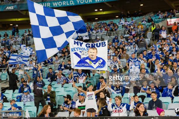 A fan holds up a banner in support of Josh Reynolds during the round nine NRL match between the Canterbury Bulldogs and the Canberra Raiders at ANZ...