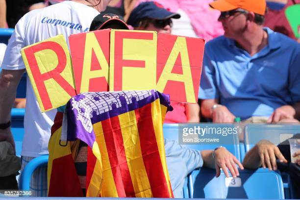 A fan holds up a 'RAFA' sign during the Western Southern Open at the Lindner Family Tennis Center in Mason Ohio on August 18th 2017 Rafael Nadal...