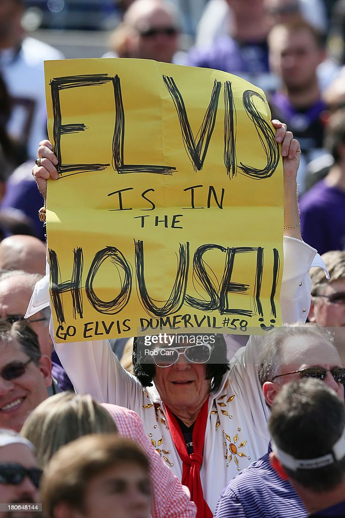 A fan holds up a sign before the start of the Baltimore Ravens and Cleveland Browns game at M&T Bank Stadium on September 15, 2013 in Baltimore, Maryland.